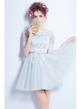 Blue A-line Off-the-shoulder Short Tulle Formal Dress With Appliques Lace
