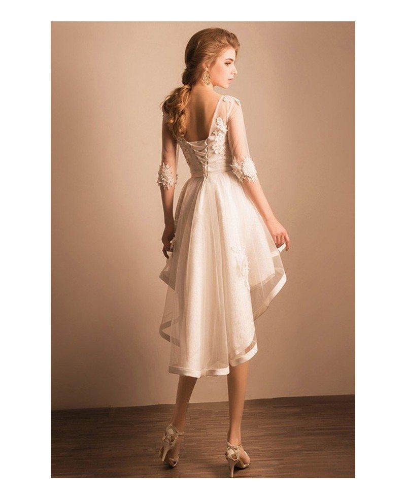 A Line Wedding Dress High Neck