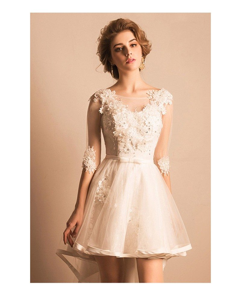 Vintage short high low wedding dresses with sleeves a line for V neck a line wedding dresses