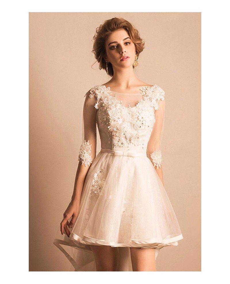 Vintage short high low wedding dresses with sleeves a line for V neck wedding dresses