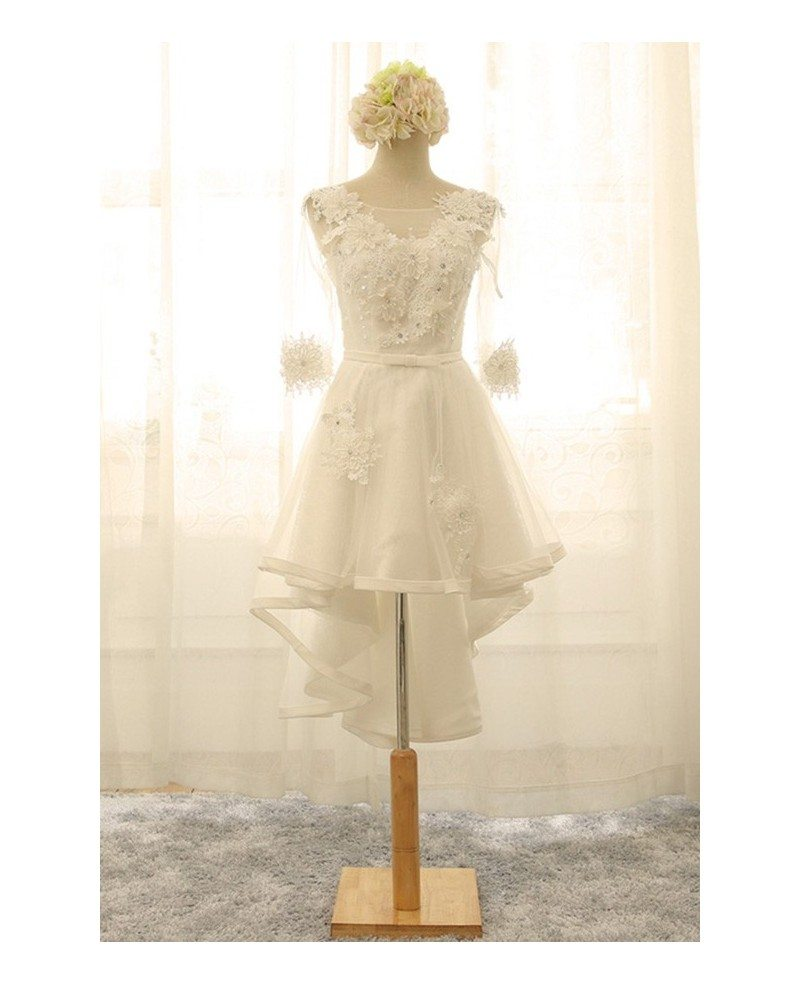 Vintage Short High Low Wedding Dresses With Sleeves A Line V Neck Tulle Style With Appliques