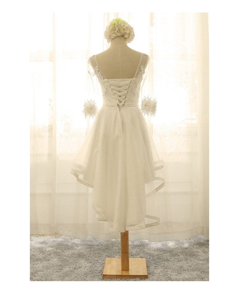 Vintage short high low wedding dresses with sleeves a line for Tulle high low wedding dress