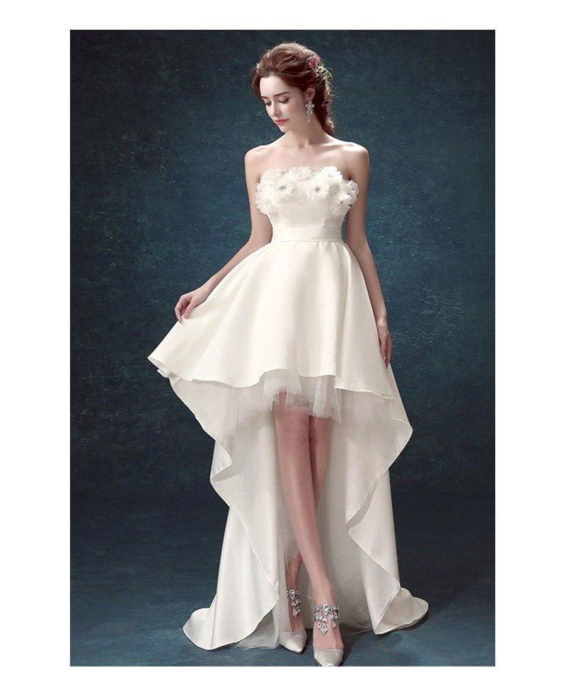 2017 strapless high low wedding dresses with train simple for Picture of a wedding dress