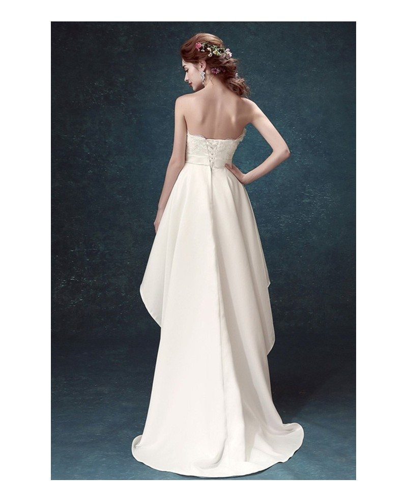 2017 strapless high low wedding dresses with train simple for Satin a line wedding dress