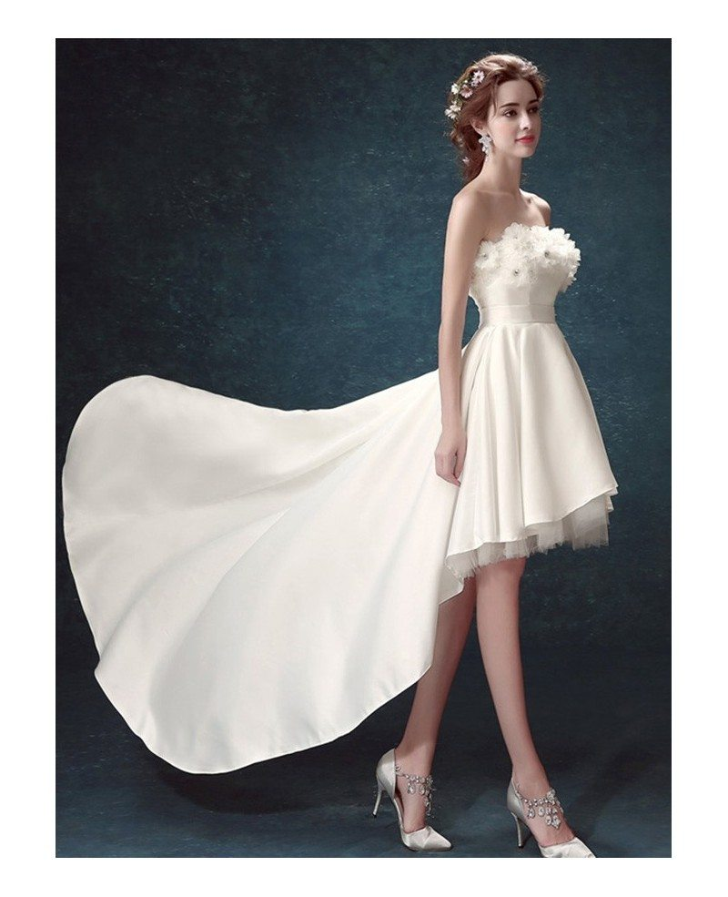 2017 Strapless High Low Wedding Dresses With Train Simple