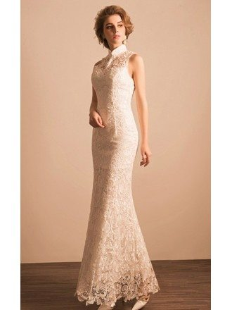 Classic Mermaid High Neck Floor-length Lace Wedding Dress
