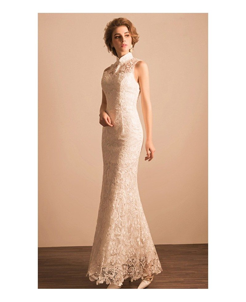 Classic Mermaid High Neck Floor Length Lace Wedding Dress