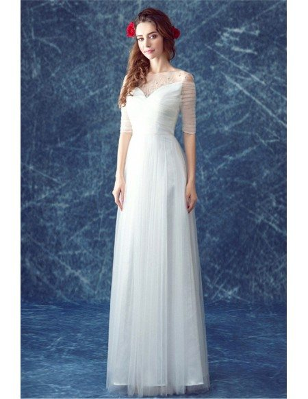 Simple a line scoop neck floor length tulle wedding dress for Simple ankle length wedding dresses
