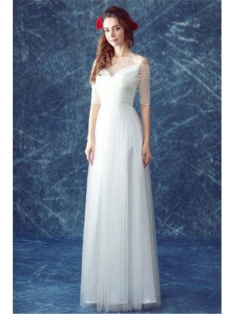 simple a line scoop neck floor length tulle wedding dress with beading