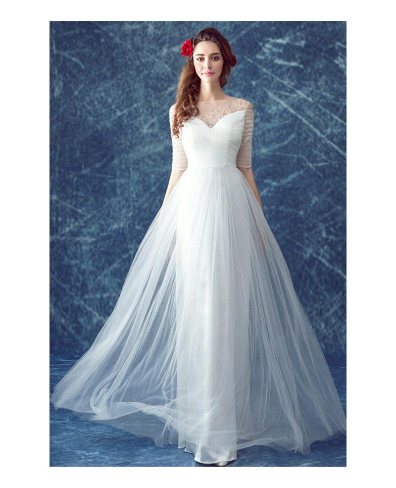 Simple a line scoop neck floor length tulle wedding dress for Plain a line wedding dress