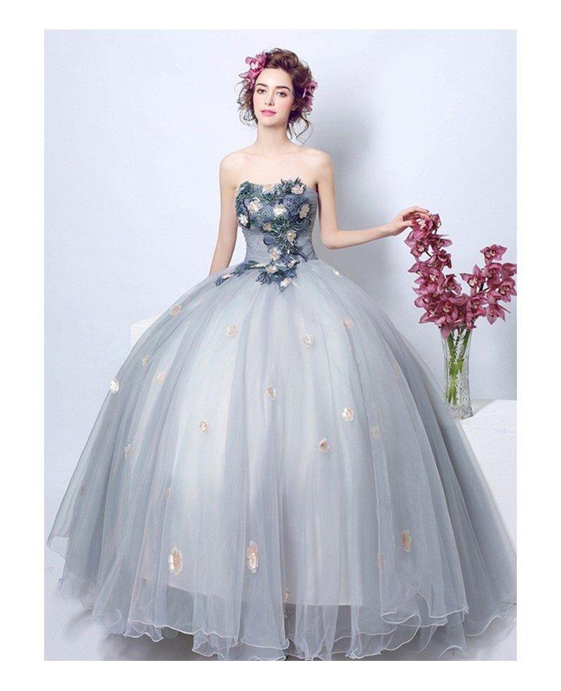 Dusty grey ball gown strapless floor length tulle wedding for Tulle halter wedding dress