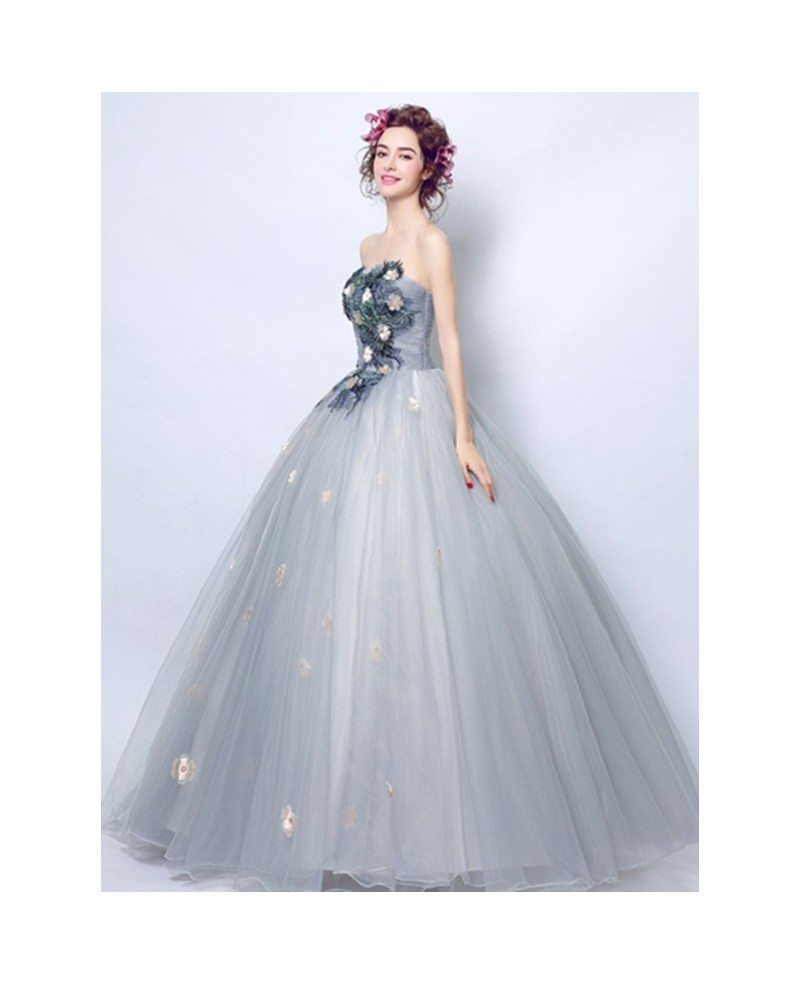 Dusty Grey Ball-gown Strapless Floor-length Tulle Wedding Dress With ...