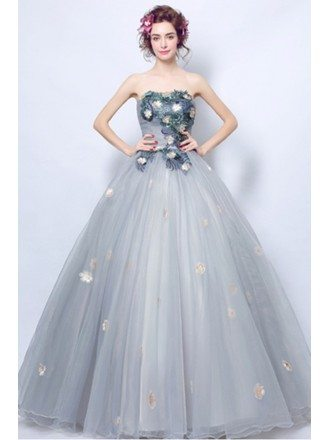 Dusty Grey Ball-gown Strapless Floor-length Tulle Wedding Dress With Flowers