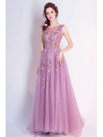 Purple A-line Scoop Neck Floor-length Tulle Formal Dress With Appliques Lace