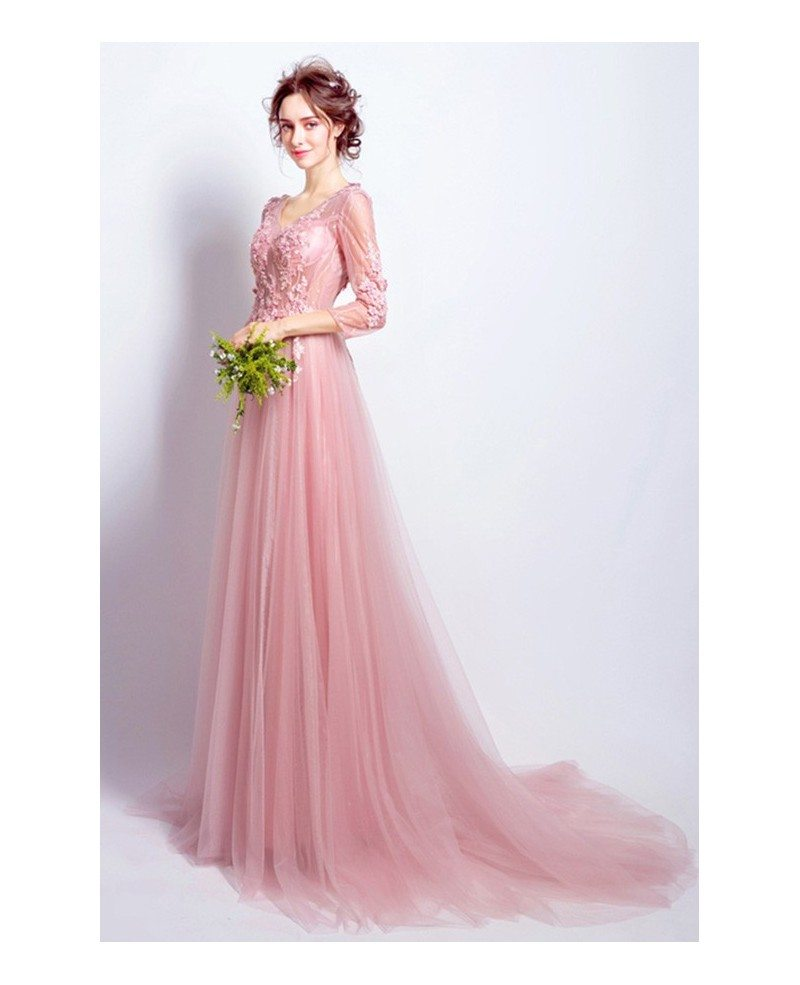 Romantic A Line V Neck Sweep Train Tulle Wedding Dress With Flowers