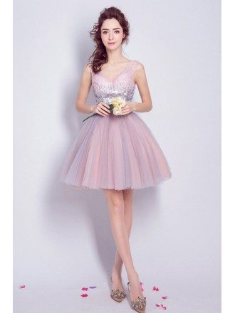 Blush Ball-gown V-neck Short Tulle Formal Dress With Sequins