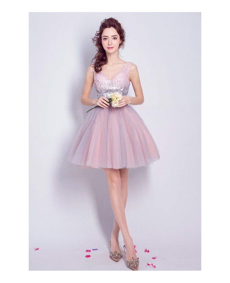 Blush Ball-gown V-neck Short Tulle Formal Dress With Sequins #TJ072 ...