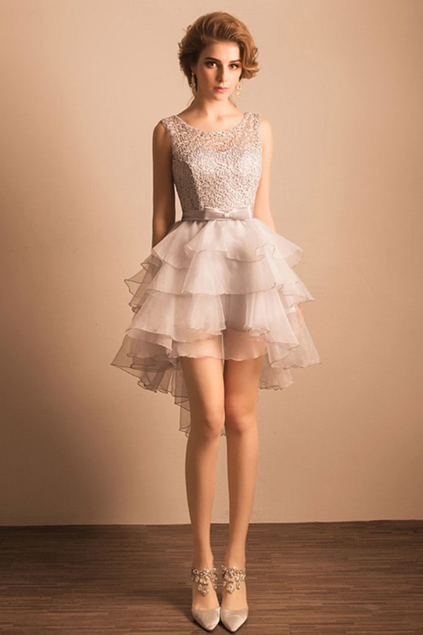 Grey A Line Scoop Neck High Low Tulle Formal Dress With