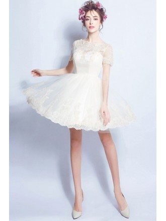 Champagne A-line High Neck Short Tulle Wedding Dress With Appliques Lace