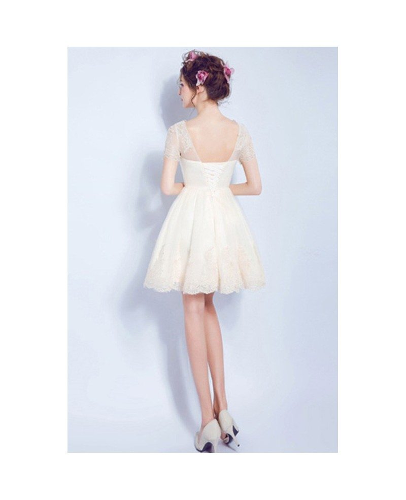 Cheap simple a line short wedding dresses reception tulle for Short champagne wedding dress