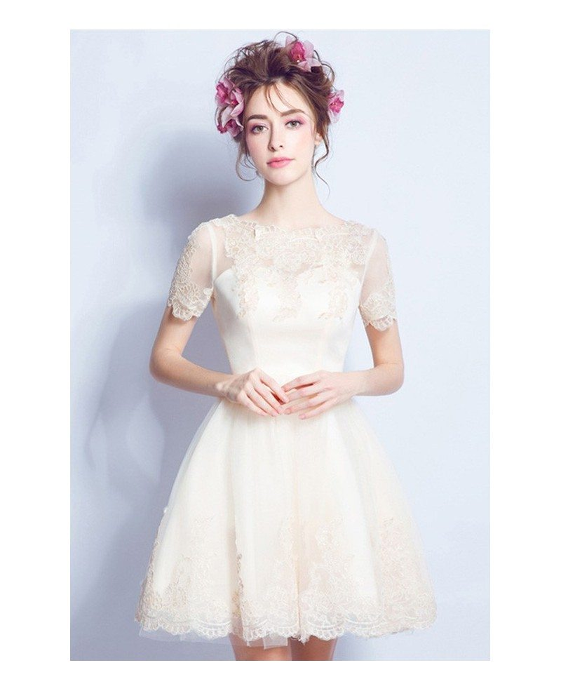 Cheap Simple A Line Short Wedding Dresses Reception Tulle