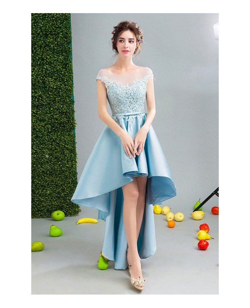 Blue Ball-gown Scoop Neck High Low Satin Formal Dress With Appliques ...