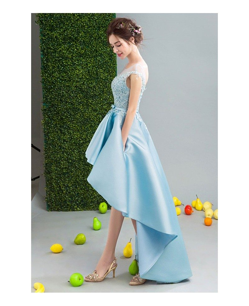 Blue Ball Gown Scoop Neck High Low Satin Formal Dress With