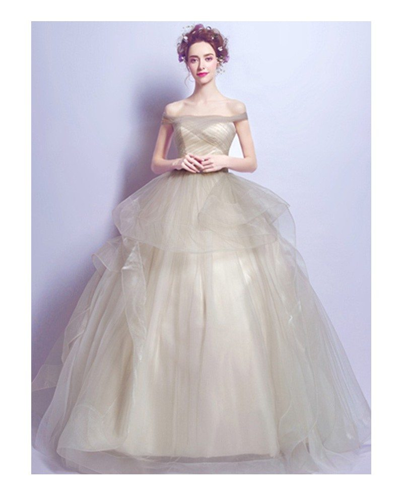 Champagne ball gown off the shoulder floor length tulle for Mid length wedding dress