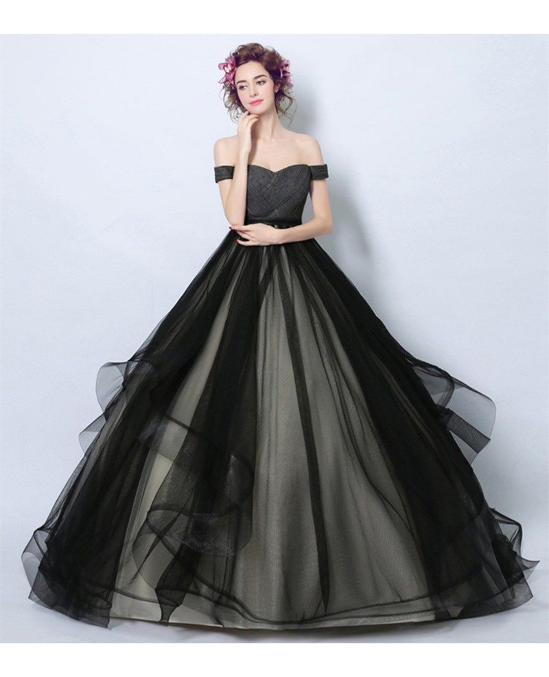 Black Ball-gown Off-the-shoulder Court Train Tulle Wedding Dress ...