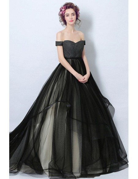 Black Wedding Dress With Train : Wedding dresses gt black ball gown off the shoulder court train tulle