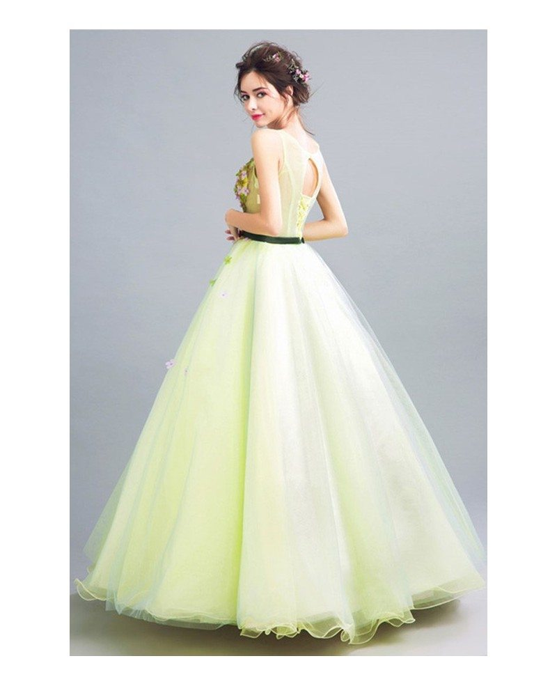 Green Ball-gown Scoop Neck Floor-length Tulle Wedding Dress With ...