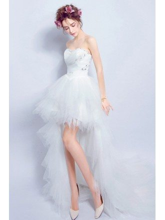 Sexy A-line Sweetheart High Low Tulle Wedding Dress With Sequins