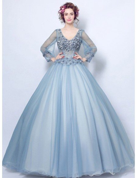 Dusty blue ball gown v neck floor length tulle wedding for Blue wedding dress with sleeves