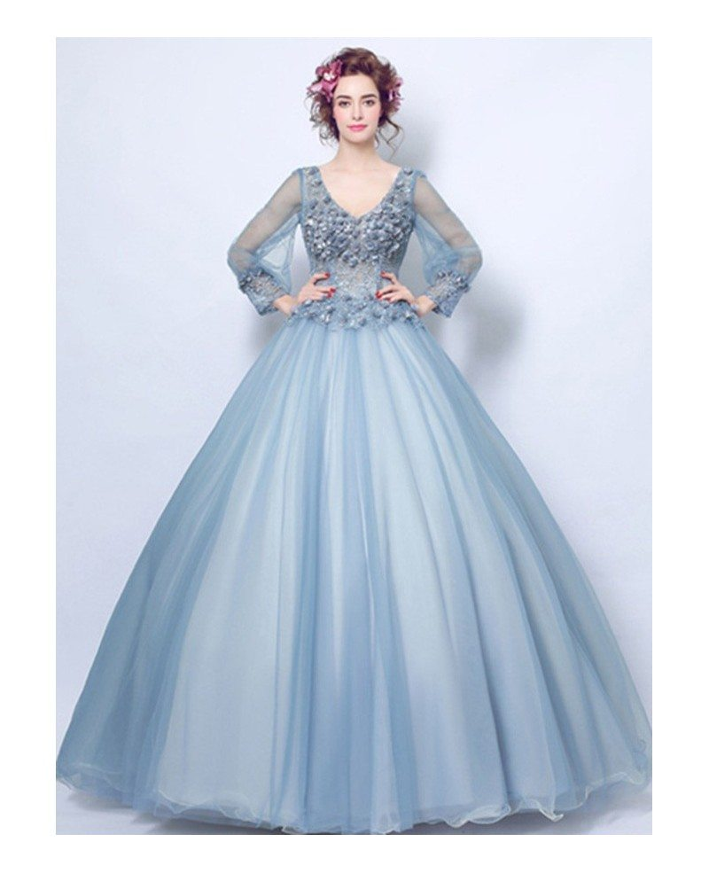 Dusty Blue Ball-gown V-neck Floor-length Tulle Wedding Dress With ...