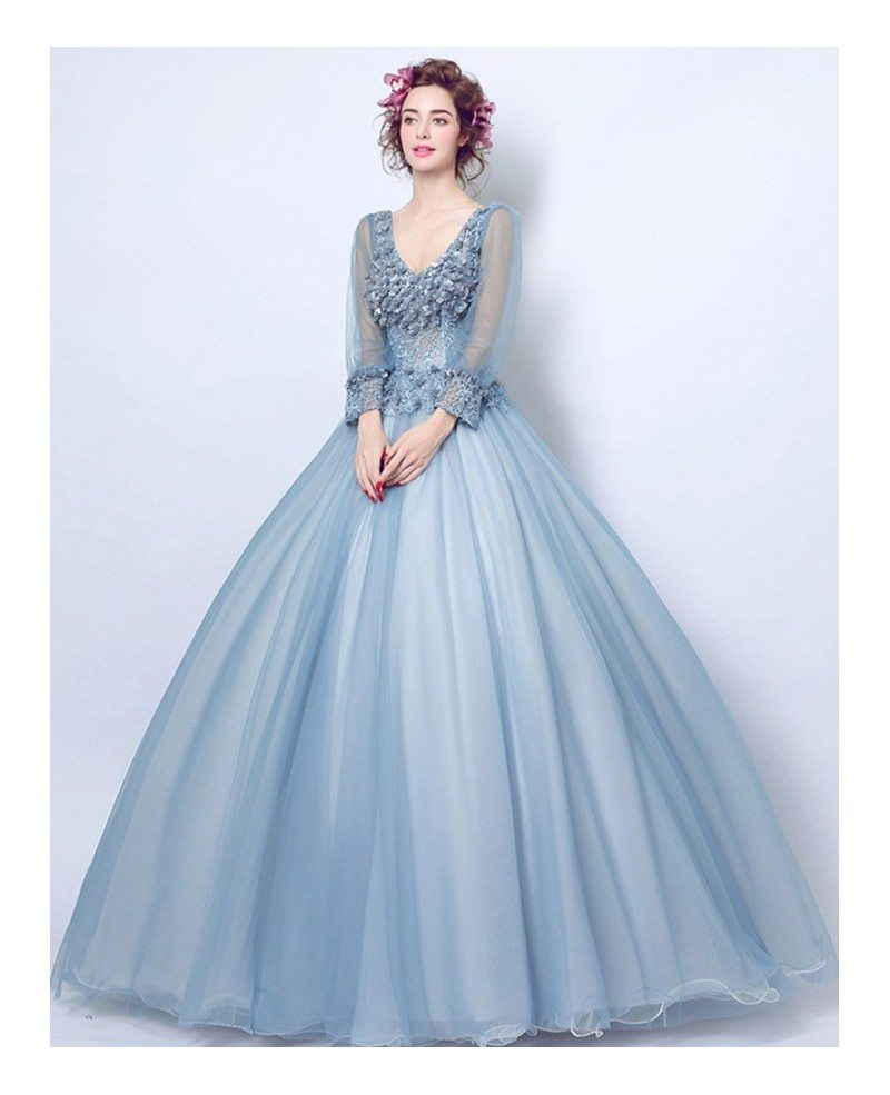 Dusty blue ball gown v neck floor length tulle wedding for Long blue dress for wedding