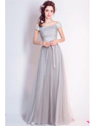 Simple A-line Off-the-shoulder Floor-length Tulle Bridesmaid Dress