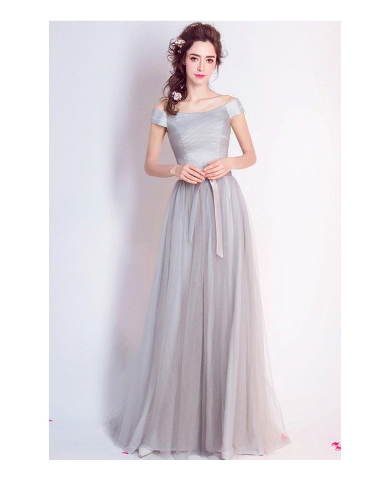 Simple a line off the shoulder floor length tulle for Medium length wedding dresses