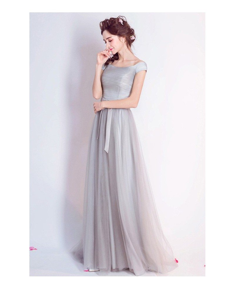 Simple A-line Off-the-shoulder Floor-length Tulle