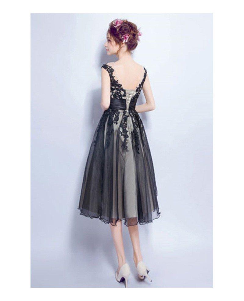 Vintage A Line V Neck Tea Length Tulle Prom Dress With