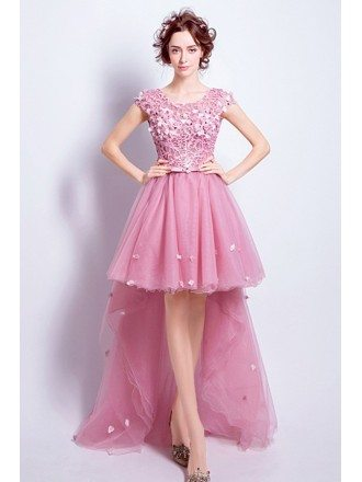 Pink A-line Scoop Neck High Low Tulle Prom Dress With Appliques Lace