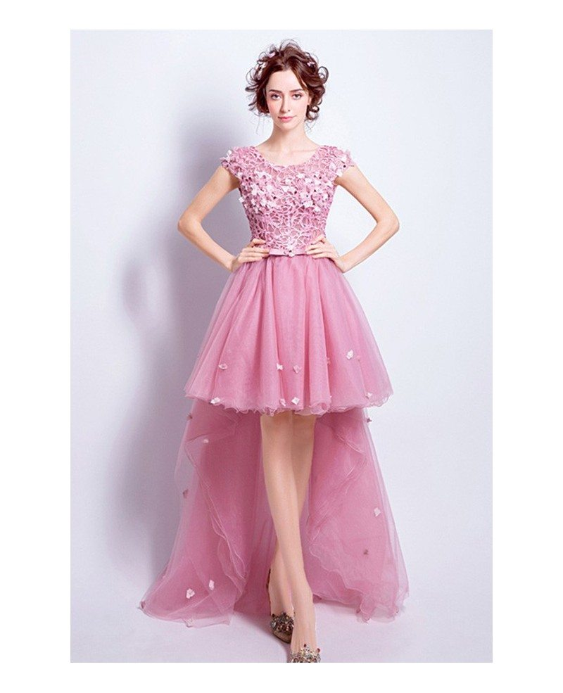 Pink A-line Scoop Neck High Low Tulle Prom Dress With Appliques Lace ...