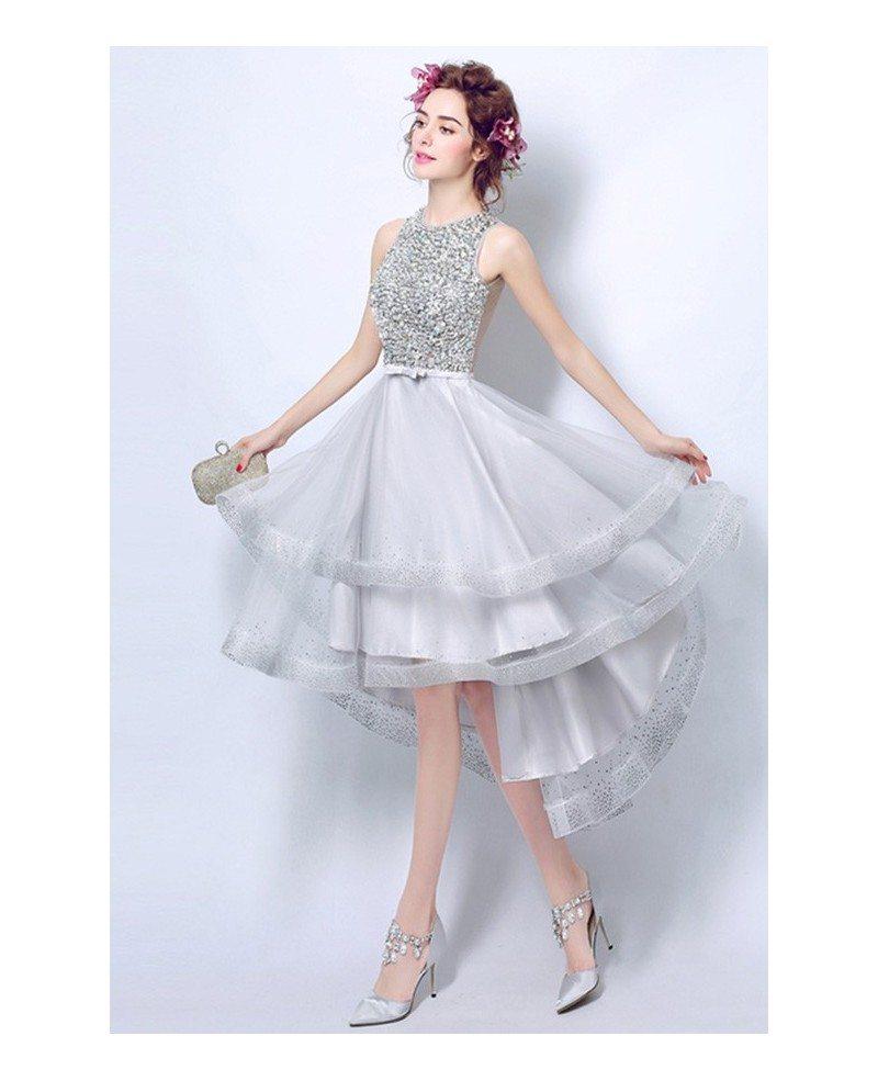 Elegant Silver Sequins Short Prom Dresses High Low A-line High Neck ...
