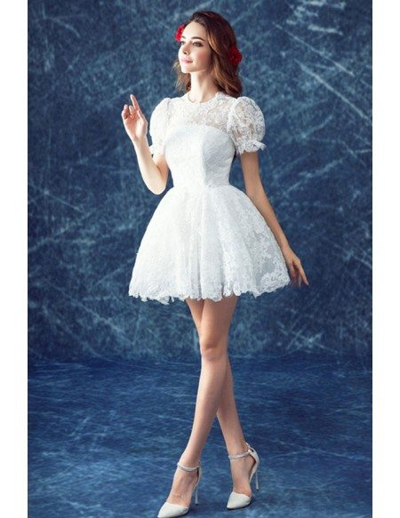 Retro lace short wedding dresses with short sleeves cute high neck grace love cute ball gown high neck short lace wedding dress with short sleeves junglespirit Images