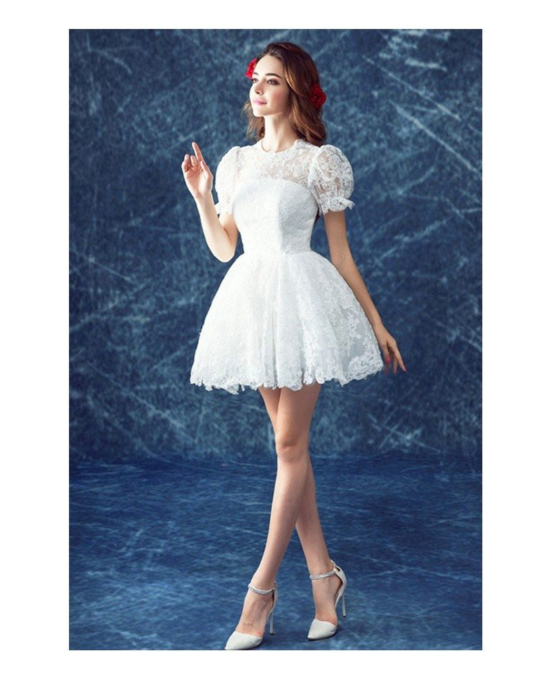 Retro lace short wedding dresses with short sleeves cute for Cute short wedding dresses