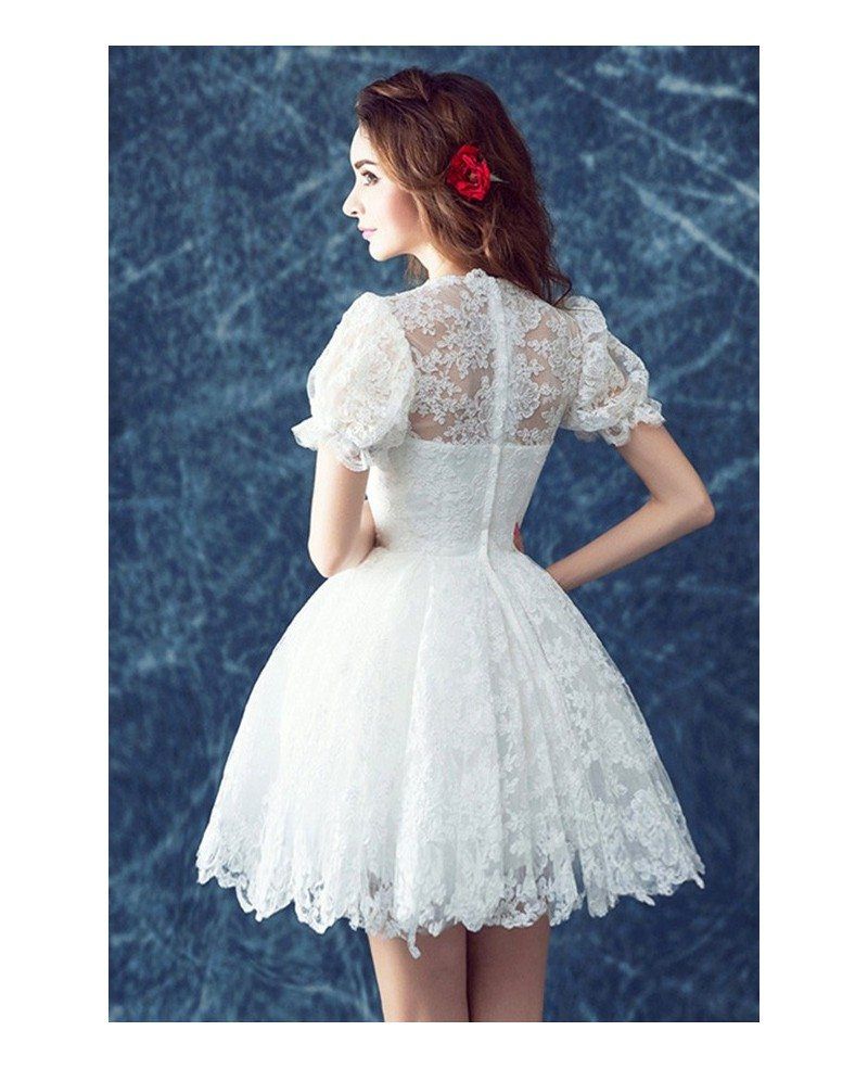 Retro Lace Short Wedding Dresses With Short Sleeves Cute High Neck ...