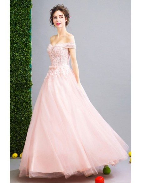Pink Ball-gown Off-the-shoulder Floor-length Tulle Wedding Dress ...