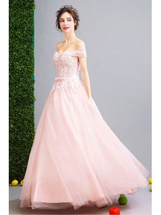 Pink Ball-gown Off-the-shoulder Floor-length Tulle Wedding Dress With Beading