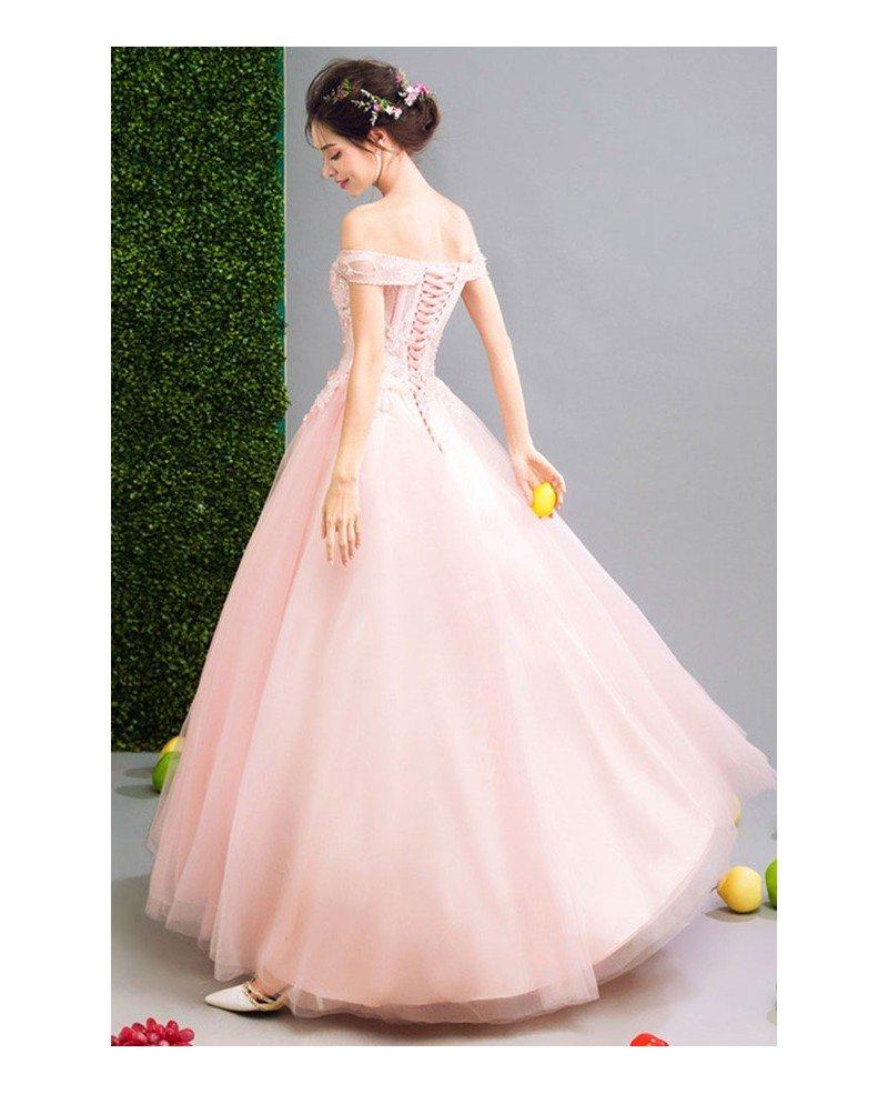 Pink ball gown off the shoulder floor length tulle wedding for Medium length wedding dresses