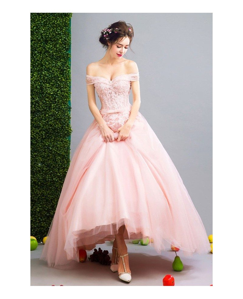 Wedding Gowns In Pink: Pink Ball-gown Off-the-shoulder Floor-length Tulle Wedding