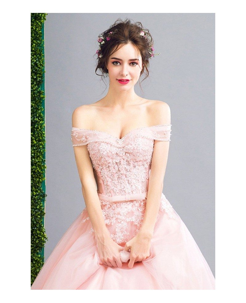 Pink Ball-gown Off-the-shoulder Floor-length Tulle Wedding